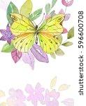 flower watercolor illustration... | Shutterstock . vector #596600708
