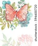flower watercolor illustration... | Shutterstock . vector #596600720