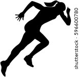 start girl runner sprint... | Shutterstock .eps vector #596600780