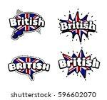 fashion patch badge british... | Shutterstock .eps vector #596602070