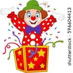 cartoon clown jumping out of...   Shutterstock .eps vector #596604413