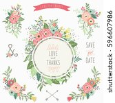 floral bouquet frame collections   Shutterstock .eps vector #596607986