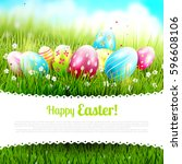 cute easter template with... | Shutterstock .eps vector #596608106