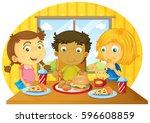 Three Kids Having Meal On Tabl...