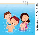 family having fun in swimming... | Shutterstock .eps vector #596611520