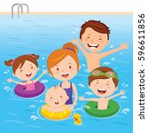 family having fun in swimming... | Shutterstock .eps vector #596611856