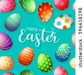 happy easter with variety of... | Shutterstock .eps vector #596618198