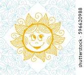 cute cartoon sun. vector... | Shutterstock .eps vector #596620988