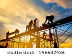 silhouette the group of workers ... | Shutterstock . vector #596632436