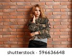 beautiful young girl in... | Shutterstock . vector #596636648