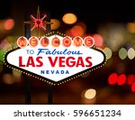 world famous las vegas welcome... | Shutterstock . vector #596651234