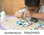 children's watercolor painting... | Shutterstock . vector #596659403