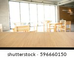 empty wooden deck table with... | Shutterstock . vector #596660150