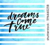 dreams come true hand drawn...   Shutterstock .eps vector #596660258