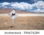 high altitude lagoon with... | Shutterstock . vector #596676284