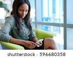focused young businesswoman...   Shutterstock . vector #596680358