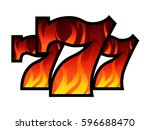 triple lucky blazing sevens...   Shutterstock .eps vector #596688470