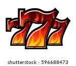 Triple Lucky Blazing Sevens vector illustration - stock vector