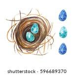 nest and easter eggs.... | Shutterstock . vector #596689370