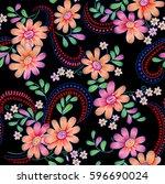 seamless floral design | Shutterstock . vector #596690024