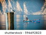 resting seagull over mooring...   Shutterstock . vector #596692823