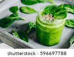 spinach smoothie with banana... | Shutterstock . vector #596697788