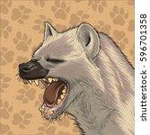 hyena head vector with... | Shutterstock .eps vector #596701358
