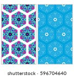 seamless set floral pattern.... | Shutterstock .eps vector #596704640