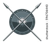 shield and spears | Shutterstock .eps vector #596706440