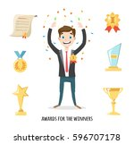 award icons flat set of trophy... | Shutterstock .eps vector #596707178