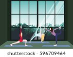 yoga class template with... | Shutterstock .eps vector #596709464
