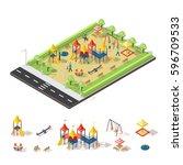 child playground isometric... | Shutterstock .eps vector #596709533