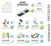 isometric airport infographic... | Shutterstock .eps vector #596710154