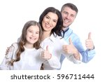 happy young family on a white... | Shutterstock . vector #596711444