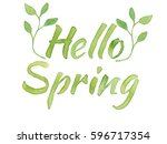 hello spring lettering with... | Shutterstock . vector #596717354