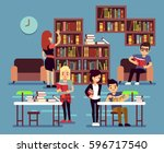 studying students in library... | Shutterstock .eps vector #596717540