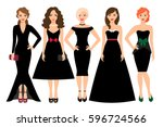 young woman in different black... | Shutterstock .eps vector #596724566