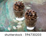 chocolate mousse with sauce and ... | Shutterstock . vector #596730203