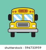 school bus in flat style.... | Shutterstock .eps vector #596733959