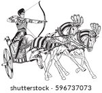 ancient egypt two wheeled... | Shutterstock .eps vector #596737073