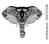 elephant head  black silhouette ... | Shutterstock .eps vector #596737100