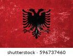 albania   albanian flag on old... | Shutterstock . vector #596737460