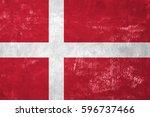denmark   danish flag on old... | Shutterstock . vector #596737466