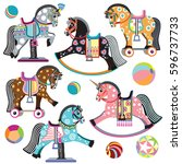 cartoon set of pony toys. on... | Shutterstock .eps vector #596737733