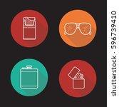 men's accessories flat linear... | Shutterstock .eps vector #596739410