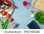 passover holiday concept seder... | Shutterstock . vector #596740268
