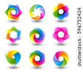 set of abstract round vector... | Shutterstock .eps vector #596752424