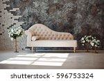 luxury white sofa in living... | Shutterstock . vector #596753324