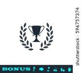 trophy icon flat. black...