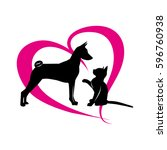 Stock vector vector pets on the background of magenta hearts 596760938